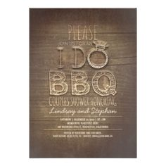 "Be unique with these rustic wood couples shower BBQ invitations. Original, bold design will make your guests wow. Perfect I DO Barbecue couples shower invitations for your backyard or garden party! Illustrated with unique fancy and casual typography where words - I DO has the unique letter ""O"" - diamond wedding ring. #bbq #couples #shower #wedding #couples #shower #i #do #bbq #barbecue #couples #shower #barbeque #couples #shower #invite #rustic #bbq #fancy #vintage #couples #shower #bbq ..."