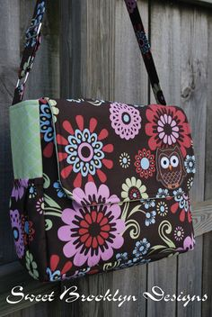Large Owl Diaper Bag Messenger Style FREE by SweetBrooklynDesigns, $70.00