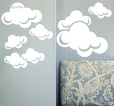 Clouds wall decal Set of 8 by greywolfgraphics on Etsy, $30.00