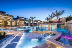 Nova Flex Waterproof 60 Series in Pure White accents the features of this pool. Luxury Swimming Pools, Luxury Pools, Dream Pools, Swimming Pool Designs, Big Houses With Pools, Pool Houses, Dream Home Design, My Dream Home, Lazy River Pool