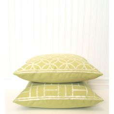 Green Pillow Covers, 2 PC Set HandPrinted White Ink Geometric Circles... ($131) via Polyvore featuring home, home decor, white home decor, green home accessories, green home decor, white home accessories and geometric home decor