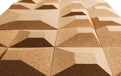 Dimensional wall tiles from recycled cork! Anyone got an NRC for this stuff? Granorte is a Portuguese family company that was founded in 1972 to recycle the cork waste from the wine industry. Repost from 3 Rings. Bon Image, Cork Wall Tiles, Cork Material, 3d Cnc, Acoustic Panels, Cork Crafts, Art Mural, Sound Proofing, Textured Walls