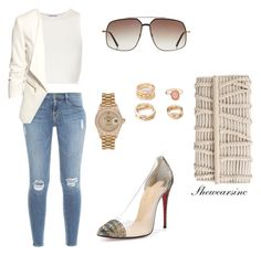 """""""Untitled #79"""" by kisses4everrr on Polyvore featuring Frame Denim, Elizabeth and James, H&M, Forever 21, Nancy Gonzalez, Tom Ford, Rolex and Christian Louboutin"""