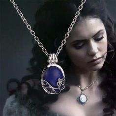Beautiful replica of Katherine's blue and silver daylight amulet necklace from TV series The Vampire Diaries. A Daywalking or Daylight Amulet is a piece of jewelry with a lapis lazuli gemstone enchant