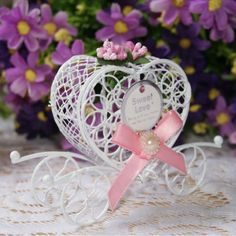 Boite Dragees Carrosse Metal Ruban Rose Mariage Bapteme (Lot de 5) par Un Jour Spécial : accessoires & décorations de mariage