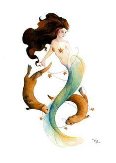 Otter Mermaid Print by Ameluria on Etsy Fantasy Mermaids, Real Mermaids, Mermaids And Mermen, Siren Mermaid, Mermaid Art, Mermaid Drawings, Art Vampire, Vampire Knight, Otter Tattoo