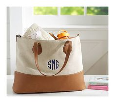Cognac Canvas Leather Tote - on #sale 72% off @ #PotteryBarnKids