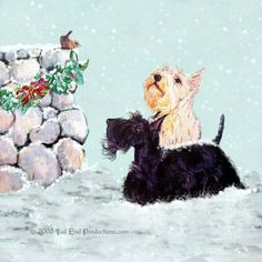 Scottish Terrier Christmas : Tail End Productions by Cherry ONeill Christmas Art, Vintage Christmas, Delft, Wire Fox Terrier, White Terrier, Dog Quotes, Dog Portraits, Westies, Yorkshire Terrier