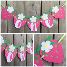 one Strawberry Banner, Strawberry High Chair Banner, Strawberry Cake Smash Banner, Strawberry Birthday banner, Strawberry Photo Prop banner by lilcraftychickadee on Etsy https://www.etsy.com/ca/listing/599824762/one-strawberry-banner-strawberry-high