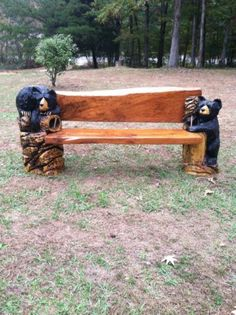Beautiful Chainsaw Carved Carving Bench Black Bear Rustic Cabin