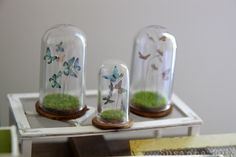Love these little vignettes under cloches from SUSANNA HELSINKI, FINLAND