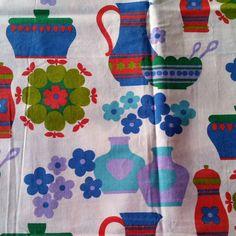 Scandinavian amazing decorative fabric with by scandinavianseance Retro Fabric, Vintage Fabrics, Vintage Prints, Vintage Love, Vintage 70s, Fabric Decor, Apples, Linens, Scandinavian