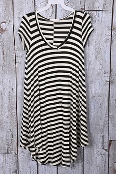 Piper Lubbock  - Go with the Flow, $34.20 (http://www.piperlubbock.com/go-with-the-flow/) tee shirt dress, black and white, stripes, v-neck, sleeves, comfy, flowy, comfortable, casual fashion, clothes
