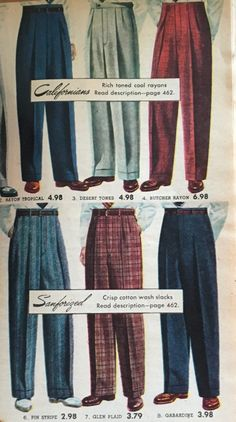 1950s mens pants trousers in plain a big patterns