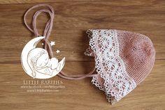 knit VINTAGE bonnet in NUDE color  newborn by LittleRaritiesStudio