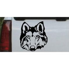 Wolf Head Animals Car Window Wall Laptop Decal Sticker -- Black 14in X 13.1in