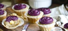 Lemon Poppy Seed Cupcakes with Lemon Curd Filling and Blueberry Cream Cheese Frosting