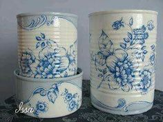 Aluminum Can Crafts, Tin Can Crafts, Aluminum Cans, Diy And Crafts, Painted Trash Cans, Decoupage Tins, Tin Can Art, Recycled Tin Cans, Recycle Cans