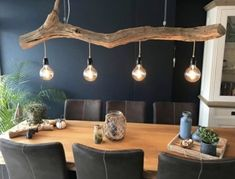 Combination of nature and industrial. Made by GBH NatureArt . Combination of nature and industrial. Made by GBH NatureArt . Farmhouse Kitchen Lighting, Industrial Interiors, Wood Lamps, Rustic Lighting, Recycled Furniture, Furniture Ideas, Easy Home Decor, Inspired Homes, Dining Room Table