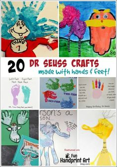 20 Dr Seuss Crafts made with Hands & Feet!