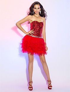A-line Princess Sweetheart Sequined And Tulle Cocktail/Prom ... – USD $ 98.99