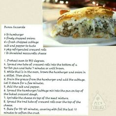 Runza casserole Added to recipe box.