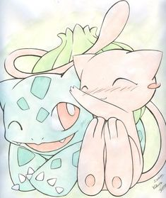 Mew and Bulbasaur by ~Kidura on deviantART