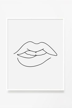 Line Art Lips Print - Claire Line Art Design, Minimal Art, Outline Art, Minimalist Drawing, Diy Canvas Art, Easy Drawings, Simple Line Drawings, Abstract Drawings, Simple Art