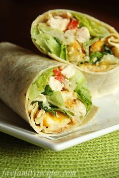 Chicken Caesar Wraps from favfamilyrecipes.com #recipes #lunch #wraps #chicken