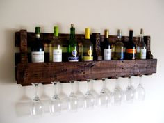 Reclaimed Wood Wine Rack, Wine Bottle, Wine Glass, Pallet Wood Wine Rack, Dark…