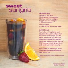 Springtime Sangria Recipe Alter recipe so it's not too sweet  Red wine Orange juice Splash of sprite so it's got carbonation Add orange slices, apples, lemons, limes