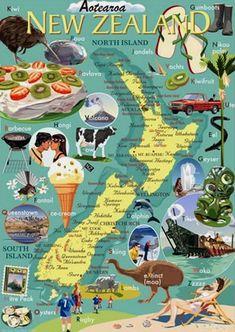 New Zealand Icons - Countour Creative Studio. New Zealand Art, New Zealand Travel, Creative Studio, Nz Art, Kiwiana, All Things New, Destination Voyage, Thinking Day, Blog Voyage