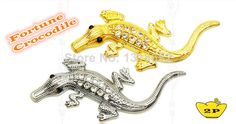 G&L 2014 New Hot Fashion 3D Stereo LUX Metal Crystal Diamond Crocodile Car Sticker Emblem Badge Golden Silver (2pcs/lot) 3M DIY Free Ship $6.89