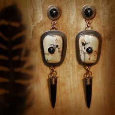 Jasper and Onyx Earrings set in Antiqued Copper - by Savage Bones and Stones.