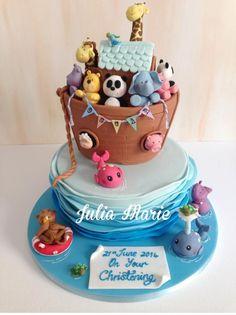 Noah's+Ark+Christening+Cake+-+Cake+by+Julia+Marie+Cakes