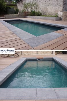 Realization Desjoyaux Osny Wood deck related to the L-shaped dealing with a drop or heel of 10 cm. Mannequin Grésé Grey tint No. Straight traces and edges for a recent look. Pool Spa, Swimming Pools Backyard, Swimming Pool Designs, Above Ground Pool, In Ground Pools, Backyard Pool Designs, Pool Houses, Water Features, Terrace