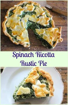 A delicious Italian Savory Pie Recipe made with Ricotta Spinach and Parmesan Cheese. Get your greens easily with this perfect healthy comfort food din. Pie Recipes, Appetizer Recipes, Cooking Recipes, Appetizers, Clean Eating Vegetarian, Vegetarian Recipes, Quiches, Lunch Wraps, Think Food
