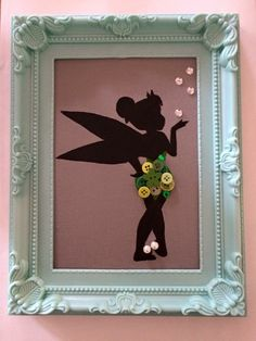Tinker bell inspired framed button canvas by NorthStar2016 on Etsy