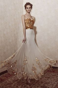 White and Gold Combination Wedding Dresses