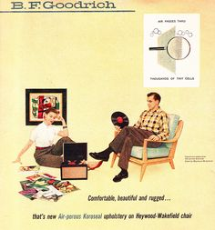 Goodrich ad: 1956 I so need a record player. I think I am about to hit the 50 mark. What to do with all those records and no player? Furniture Ads, Apartment Furniture, Cool Furniture, Refurbished Furniture, Vintage Advertisements, Vintage Ads, Vintage Music, Vintage Prints, Vinyl Junkies