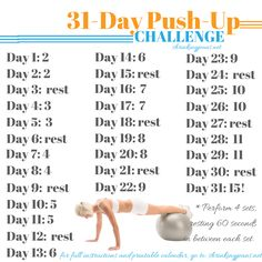 31-Day Push-Up Challenge: Free, Printable, Monthly Workout Calendar @shrinkingjeans #exercise #workout
