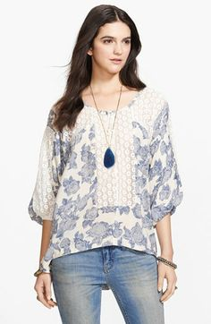 Free People 'Moon River' Crocheted Panel Peasant Top available at Classic Style, My Style, Moon River, Peasant Tops, Free Spirit, How To Look Better, Free People, Women Wear, Fashion Looks