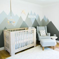Newborn lifestyle photos of baby Diego on film in a modern nursery with a mountain mural, elephants and planes Baby Bedroom, Baby Boy Rooms, Baby Boy Nurseries, Nursery Room, Kids Bedroom, Nursery Decor, Room Decor, Mountain Nursery, Mountain Mural