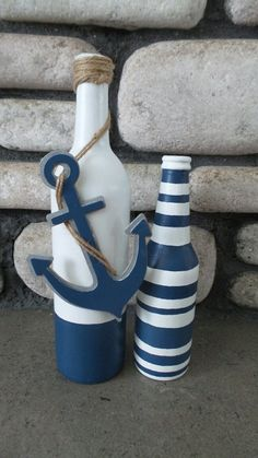 This beautiful Nautical Beach inspired Wine bottle set would look adorable in your home and give it that costal beach feel. Would also be the perfect centerpieces for your beach theme Wedding! Great gift for anyone! Nautical Centerpiece, Beach Centerpieces, Bottle Centerpieces, Beach Decorations, Wine Bottle Decorations, Sea Decoration, Wedding Decorations, Diy Bottle, Wine Bottle Crafts