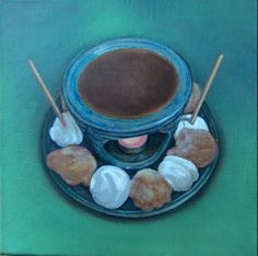 Kent Christensen, Tramshed Chocolate Fondue, 2014, Oil on linen, 12 x 12 in / 30 x 30 cm