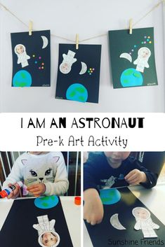 I am an Astronaut Art Activity Space themed art activity for Pre- K. Enhance your Space lesson and reinforce: planet. Space Crafts Preschool, Space Activities For Kids, Moon Activities, Space Theme For Toddlers, Outer Space Crafts For Kids, Astronaut Craft, Planet Crafts, Outer Space Theme, Projects For Kids