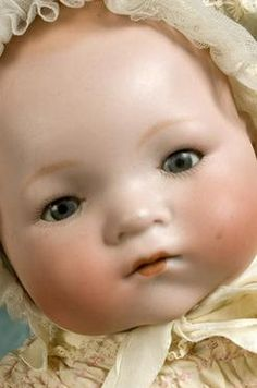 bisque Dream Baby doll, model no. with cloth body and celluloid hands, Germany, by Armand Marseille. Porcelain Doll Makeup, Porcelain Dolls Value, China Porcelain, Porcelain Jewelry, Porcelain Tile, Toddler Dolls, Child Doll, Baby Dolls, Victorian Dolls