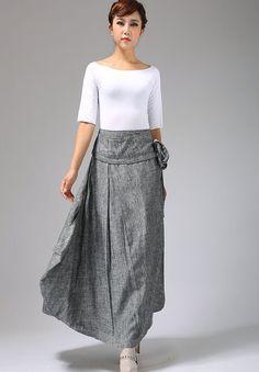 soft gray skirt linen skirt wrap skirt maxi skirt by xiaolizi