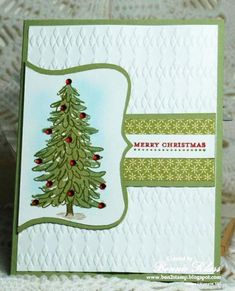 Evergreen Trimmed for Merry Monday by bon2stamp - Cards and Paper Crafts at Splitcoaststampers