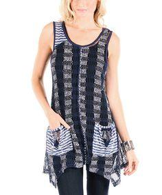 Love this Blue & White Knit Handkerchief Tank by Aster on #zulily! #zulilyfinds